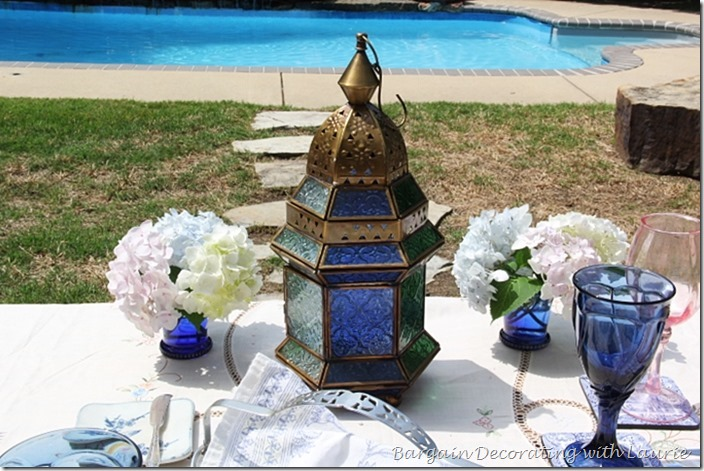 Colored Glass Lantern as Centerpiece