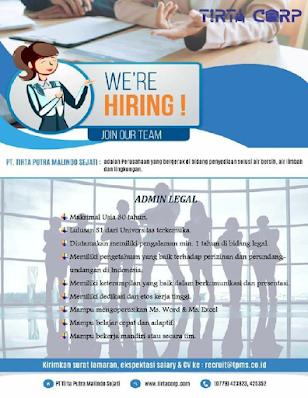 Lowongan Kerja PT Tirta Corp   Admin Legal