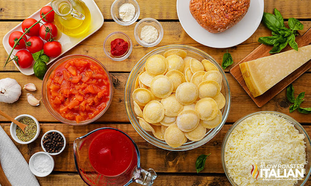 sausage and ravioli ingredients