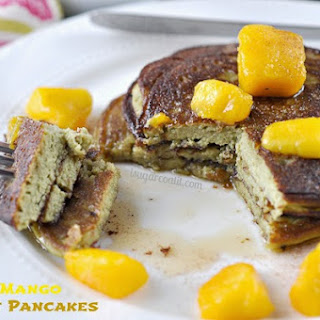Matcha Mango Coconut Pancakes {St. Patrick's Day}