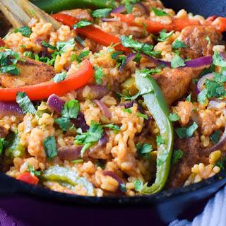 One Pot Chicken Fajita and Rice Skillet
