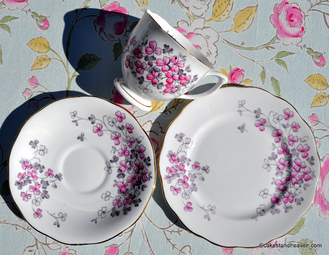 Vintage Bone China Pink Clover Pattern Trio
