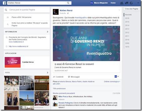 Matteo Renzi blocca le persone su Facebook