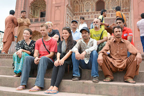We at the stairs of Badshahi masjid, Lahore, Punjab