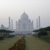 Taj Mahal at sunrise, across the river