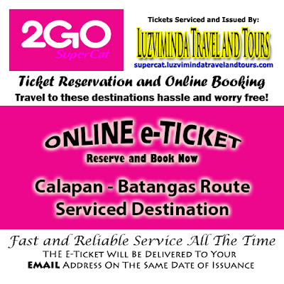 2Go SuperCat Calapan-Batangas Ticket Reservation and Online Booking