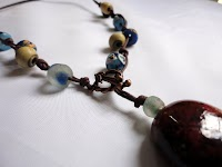 West African Necklace with Cotton Thong & Pendant
