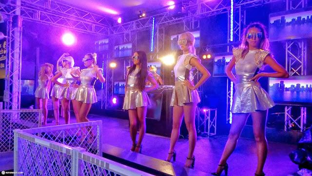 Japanese girls on stage at the AVEX beach paradise CLUB in Kamakura in Kamakura, Kanagawa, Japan
