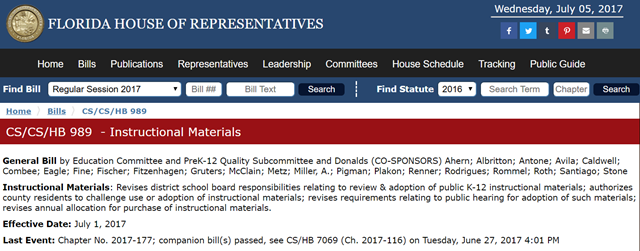 Screenshot of the Florida House of Representatives site, showing HB 989, 'Instructional Materials', which enables any county resident to challenge school curriculum and force removal of scientific studies like climate change and evolutionary biology. Graphic: Florida House of Representatives