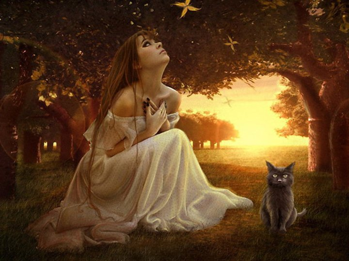Magic Wiccan Girl And A Cat, Wicca Girls