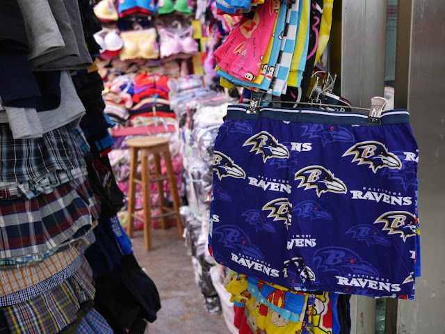 Baltimore Ravens boxer shorts for sale in the Zhuhai Port Plaza