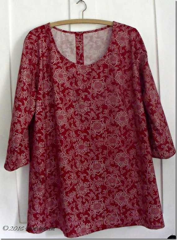 red gathered back tunic front