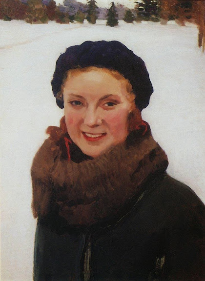 Igor Grabar - Winter. Portrait of the Painter's Daughter