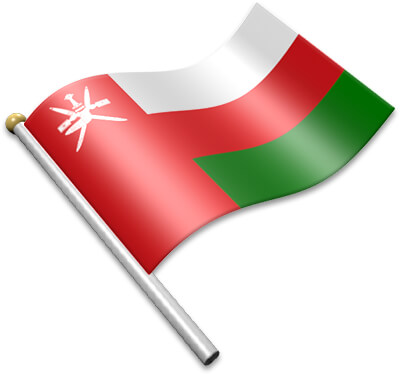 The Omani flag on a flagpole clipart image