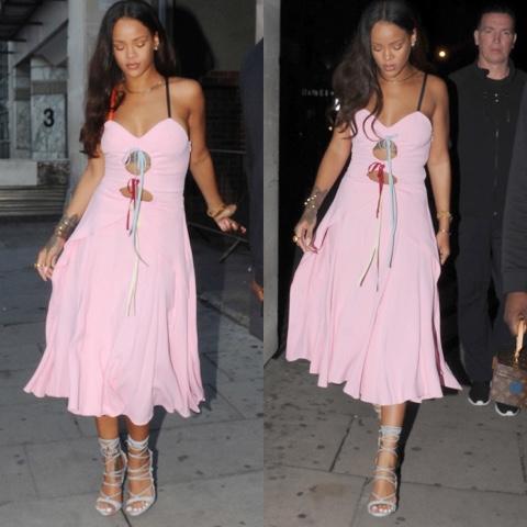 Rihanna in Pink Rosie Assoulin Holey Moley Dress