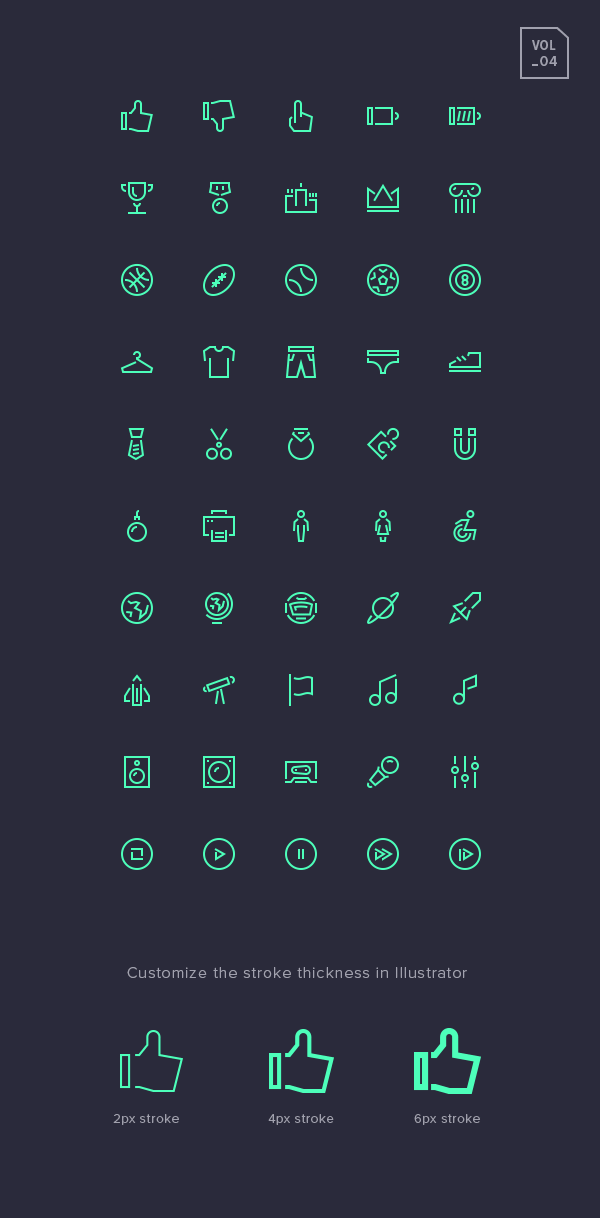 Free Stroke Gap Icons Set Vol.4