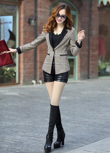 Bộ áo khoác vest nữ sọc kẻ có viền trẻ trung