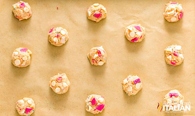 circus animal cookies dough scoops on cookie sheet