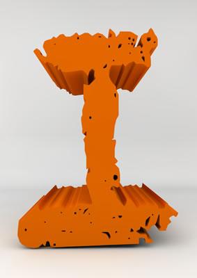 lettre 3D chiffron de craie orange - I - images libres de droit
