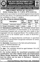 North Central Railway Cultural Quota 2016-17 www.indgovtjobs.in