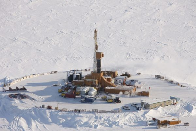 Smith Bay drilling rig in Alaska Arctic southeast of Barrow. On 4 October 2016, Dallas-based Caelus Energy Alaska LLC announced a find of 6 billion barrels of light oil on its state leases in the Arctic Ocean waters of Smith Bay about 450 miles northwest of Fairbanks. Photo: Caelus Energy