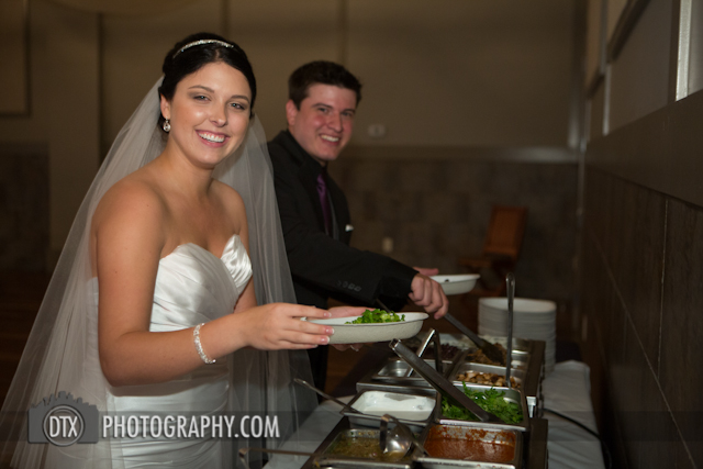 bride and groom self serve chipotle at a wedding in denver.
