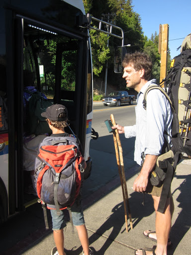Catching the bus home in Guerneville