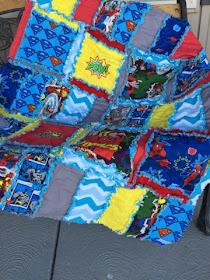 Superhero Rag Quilt Set  for crib or toddler bed