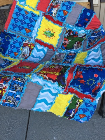 Superhero Rag Quilt Set  for crib or toddler bed