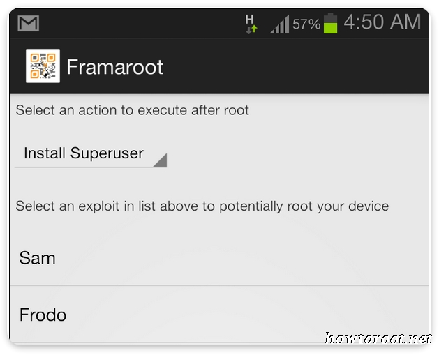 Download Framaroot apk and root android without pc