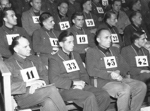 The Nuremberg Trials 1946 Joachim Peiper is pictured as Number 45 on the far right.