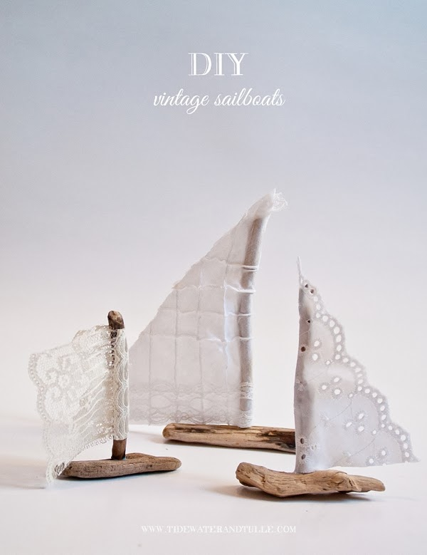 Diy vintage nautical sailboat favors tidewater and tulle for Diy driftwood sailboat
