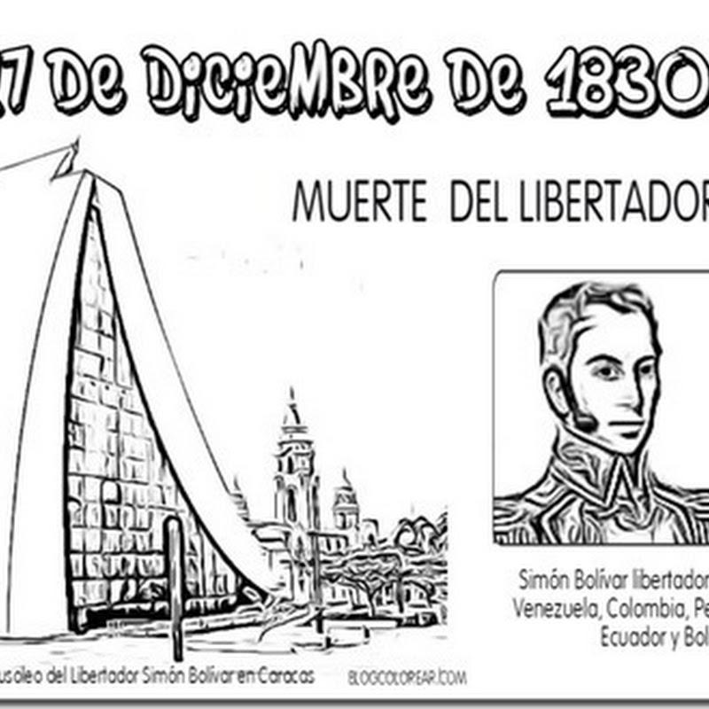 Colorear 17 diciembre muerte del libertador