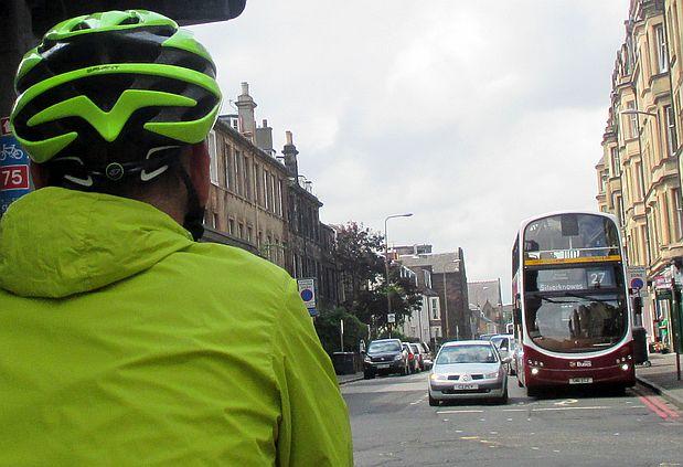 Chris on the Bike in Edinburgh