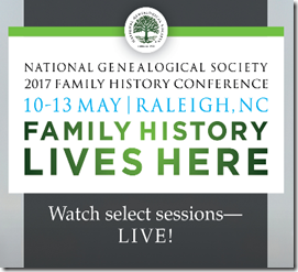Live stream NGS 2017 Family History Conference sessions.
