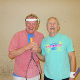 Men 70+ winner Ned Monaghan and semifinalist Wayne Hodges