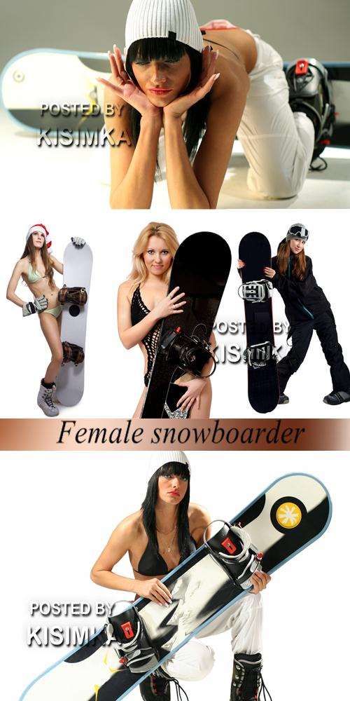 Stock Photo: Female snowboarder
