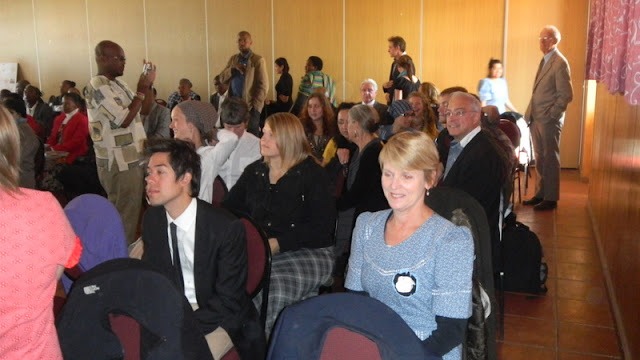 Tish and the crowd waiting for the ceremony to begin