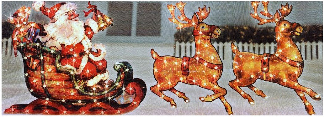 christmas 5ft lighted holographic santa sleigh with reindeer yard decoration - Lighted Christmas Yard Decorations