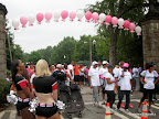Walkers heading towards the starting line for the Pink Ribbon Walk.