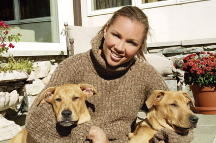 Vanessa Williams and her dogs Congo and Cayman