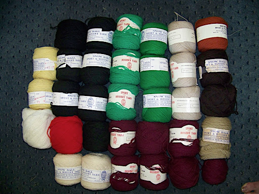 """B - Snow Ball wool - $60 for almost 64 oz (4 lb) This is a lovely sport-to-worsted weight pure virgin wool. You can tell it's vintage by the description: for """"sportswear, hosiery and bathing suits."""" Wool bathing suits!!?? Not these days. Note that there are 2 different greens, 3 skeins each. If you want just some of the colors, I'll sell for $2 for each 2 oz ball."""