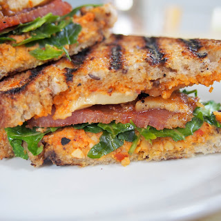 Romesco And Bacon Grilled Cheese Sandwich.