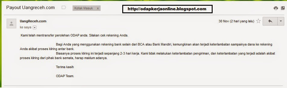 Email - Bukti Laporan Transfer dari ODAP bulan November 2014