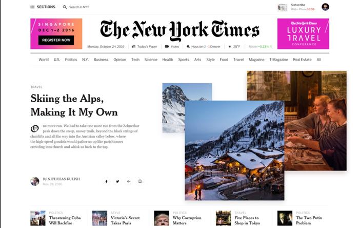 Concepto de rediseño para The New York Times