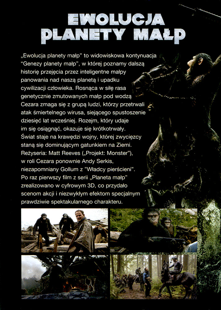 Ulotka filmu 'Ewolucja Planety Małp (tył)'