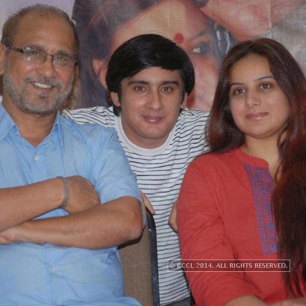 Dr Suresh Sharma, Dhruva Sharma and Pooja Gandhi during the audio launch of Tippaji Circle, in Bangalore.