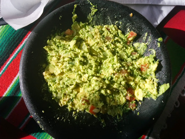 Fresh guacamole salad at a restaurant in Los Angeles