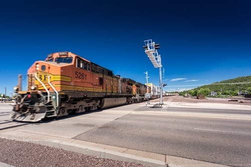 Train crossing Route 66 Williams Arizona