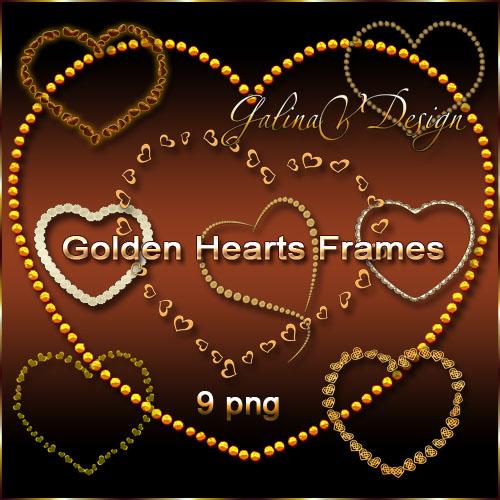 Золотые рамки-вырезы Сердечки в PNG